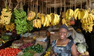 Dessert bananas on display at a fruit and vegetable market in Nairobi, Kenya.
